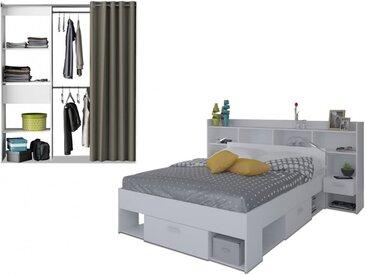 Pack CHAMBRE KYLIAN - Lit + tête de lit avec rangements 140x190-200 cm et dressing extensible KYLIAN L114/168cm - Blanc