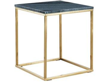 Table d'appoint design ARETHA - Marbre & Métal - Noir & Doré