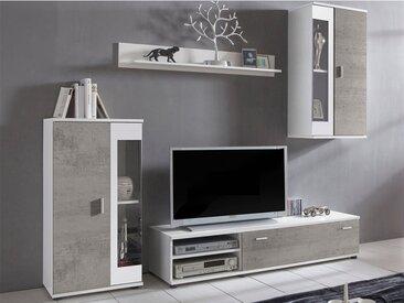 Mur TV DYLAN avec rangements - LEDs - Coloris : Blanc et Béton