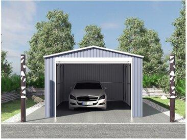 Garage en acier galvanisé avec porte enroulante gris OCTOU - 19,5 m²