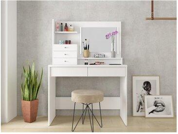 Coiffeuse GIULIANA - Miroir à LEDs et rangements - Blanc