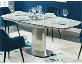 Table à manger extensible TALICIA - 4 à 6 couverts - Céramique et Acier - Effet Marbre