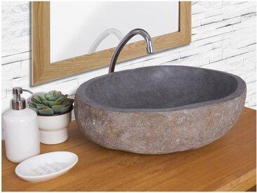 Vasque de salle de bain en pierre de rivière WATU - Couleur grise