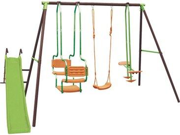 Portique en acier LUDIVINE 4 agrès - Tricolore - L363 x I188 x H196 cm