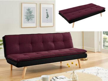 Canapé 3 places convertible clic-clac en tissu MOUFFETARD - Prune et noir