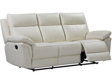 Canapé 3 places relax en cuir de buffle PAKITA - Ivoire