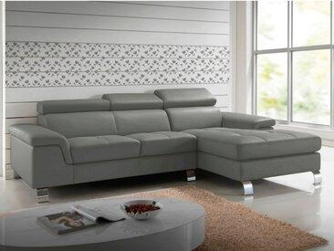 Canapé d'angle cuir MISHIMA - Gris - Angle droit
