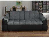 Canapé 2 places en tissu et simili FAREZ - Bicolore gris et noir