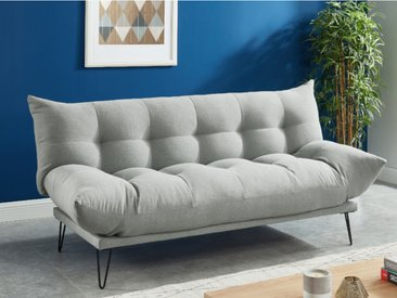 Canapé 3 places clic-clac en tissu BERSY  - Gris clair
