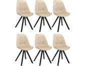 Lot de 6 chaises scandinaves ANEYA - Velours & Pieds Hévéa - Beige