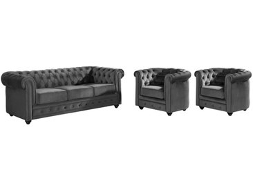 Canapé 3 places et 2 fauteuils CHESTERFIELD - Velours anthracite