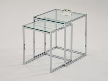Lot de 2 tables basses gigognes ZURIA - Verre trempé & métal chromé