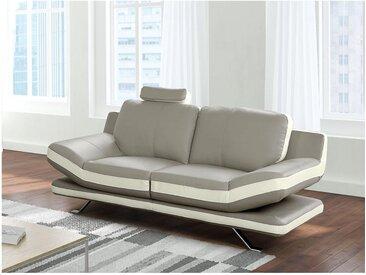 Canapé 2 places en cuir LATIKA - Bicolore beige et ivoire