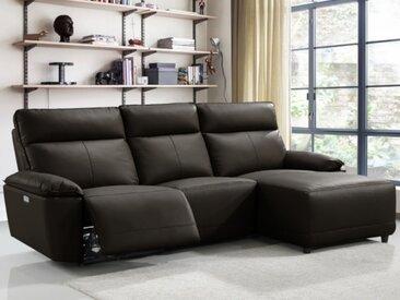 Canapé d'angle relax électrique en cuir de buffle CEDRIC - Marron - Angle droit
