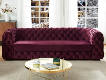 Canapé 3 places chesterfield STANLEY - Velours pourpre
