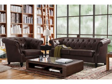 Canapé 3+1 places Chesterfield AQUITAINE en microfibre aspect cuir vieilli - Chocolat