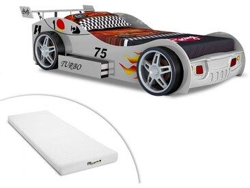 Lit voiture RUNNER avec tiroir - 90x200 cm - Blanc + matelas STELO KIDS 90x200