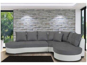 Canapé d'angle bimatière STEPHANIE - Bicolore blanc et gris - Angle droit