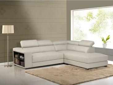 Canapé d'angle cuir LEEDS - Beige - Angle droit