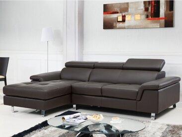 Canapé d'angle cuir MISHIMA - Marron - Angle gauche