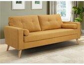 Canapé 3 places en tissu effet lainage à bouclettes TATUM - Jaune