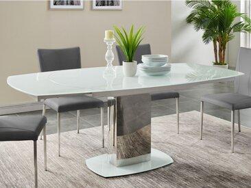 Table à manger extensible TALICIA - Verre trempé & métal - 6 à 8 couverts - Coloris Blanc