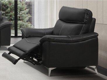 Fauteuil relax électrique en cuir METRONOMY - Noir