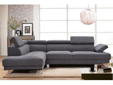 Canapé d'angle en tissu DANVIN avec têtières - Gris - Angle gauche
