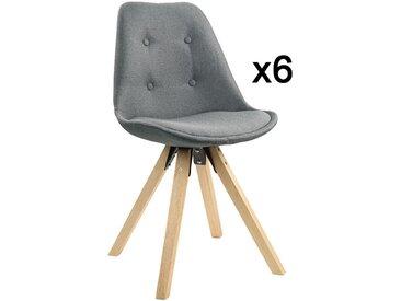 Lot de 6 chaises scandinaves ANEYA - Tissu & Pieds Hévéa - Gris clair