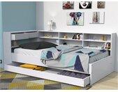 Lit avec tiroirs et étagères RENATO II - 90 x 190 cm - Blanc