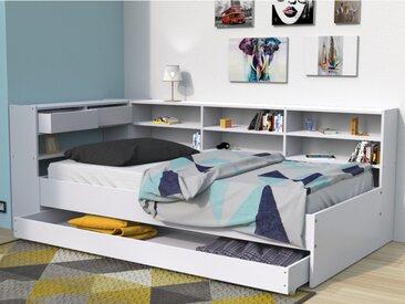 Lit avec tiroirs et étagères RENATO II - 90x190cm - blanc