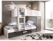 Lits superposés avec tiroir lit gigogne ANTHONY avec rangements 3 x 90 x 190 cm - Anthracite et Blanc