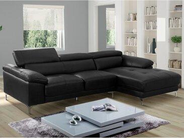 Canapé d'angle en cuir SOLANGE - Noir - Angle droit