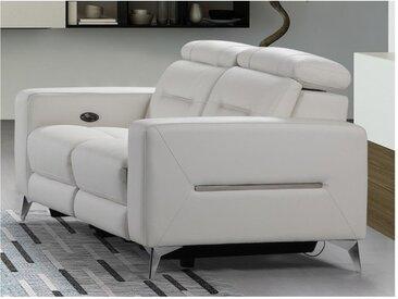 Canapé 2 places relax électrique PAULY en cuir - Blanc