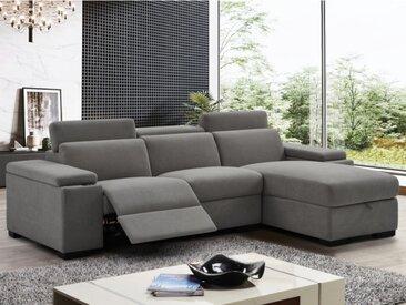 Canapé d'angle relax électrique en velours REBECCA - Gris - Angle droit
