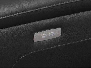 Canapé d'angle relax électrique en cuir OLBIA - Noir - Angle gauche