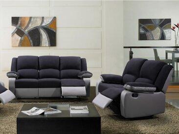 Canapé 3+2 places relax en microfibre et simili  BILSTON II - Noir et gris