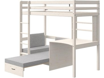 Lit mezzanine GOLIATH II avec bureau, sofa convertible et rangements - 90 x 200 cm - Pin massif - Blanchi