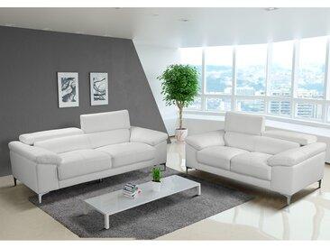 Canapé 3+2 places en cuir SOLANGE - Blanc