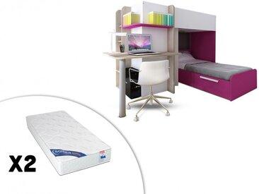 Lits superposés SAMUEL - 2x90x190cm - Bureau intégré - Pin blanc et rose + 2 matelas ZEUS 90x190
