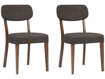Lot de 2 chaises RUBBEN - Hêtre et tissu - Coloris : noyer et gris