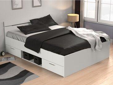 Lit GASPARD avec tiroirs - 140x190cm - Coloris : Blanc
