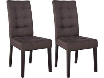 Lot de 2 chaises VILLOSA - Tissu marron & Pieds bois foncé