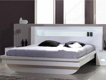 Lit EVRARD - MDF laqué - 160x200cm - Avec LEDs et rangement - Blanc
