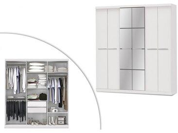 Armoire avec miroir WILHEM - 6 portes - L.203cm - Blanc