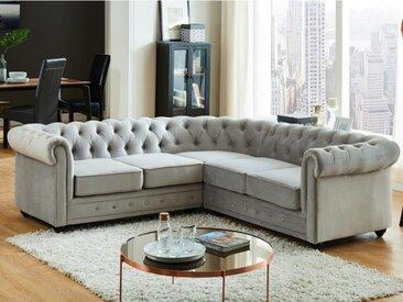 Canapé d'angle en velours CHESTERFIELD - Gris argent