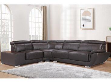 Canapé d'angle en cuir NAHIA - Marron - Angle gauche