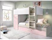 Lits superposés avec tiroir lit gigogne ANTHONY avec rangements 3 x 90 x 190 cm - Blanc, chêne et rose