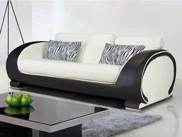 Canapé 3 places en simili HELIADES - Assise ivoire, tour de caisse noir