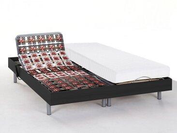 Lit électrique relaxation tout plots matelas latex CASSIOPEE III de DREAMEA - moteurs OKIN - 2x80x200 - noir